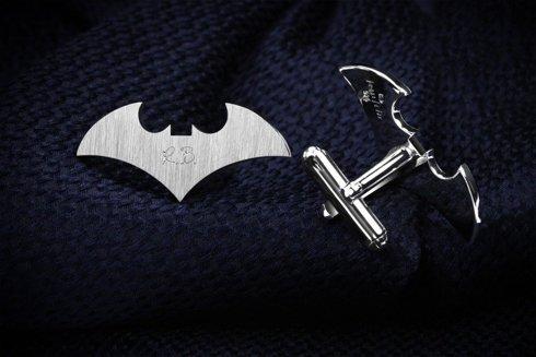 Silver Cuff Links Bat
