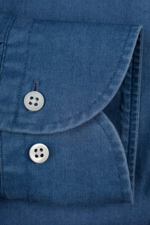 Spread collar denim Albini shirt