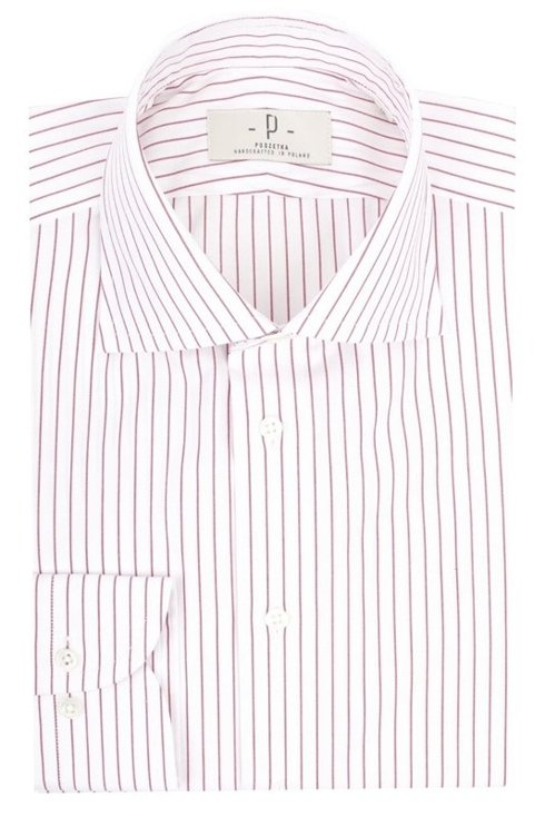 White & red striped shirt with semi-spread collar