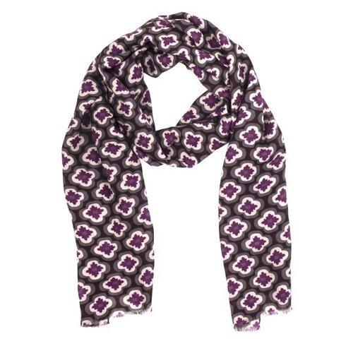 brown printed scarf with yak wool