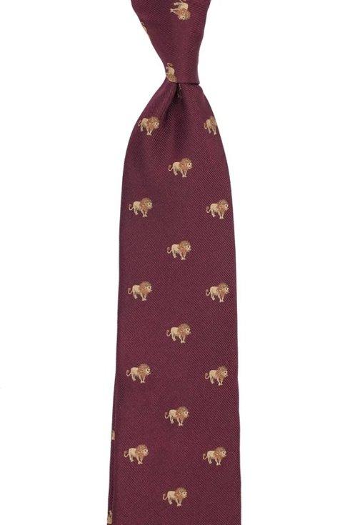 burgundy silk tie with lions