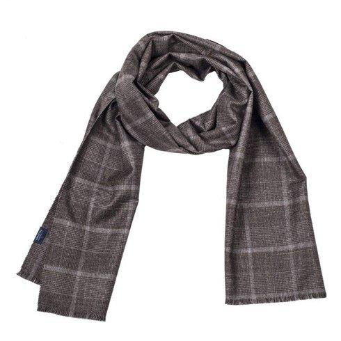 checkered woolen-cashmere scarf