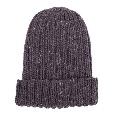 hand kniting graphite tweed beanie
