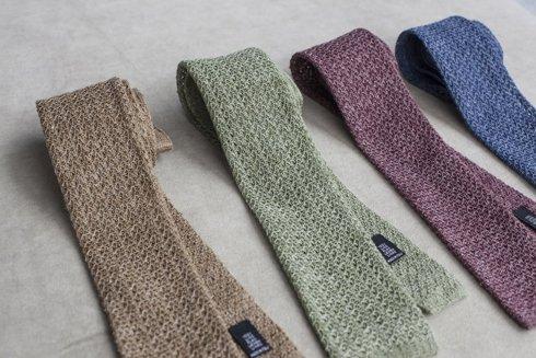 linen navy knit tie