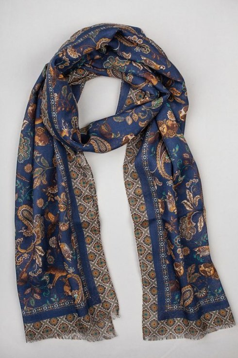navy printed scarf muslin wool and silk