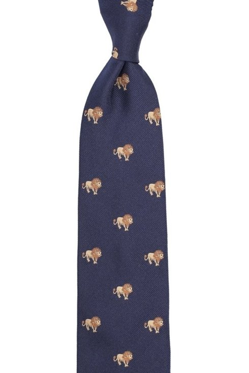 navy silk tie with lions