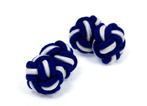 silk knots white and blue