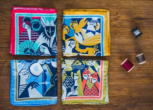 silk pocket square zodiak aries/ram