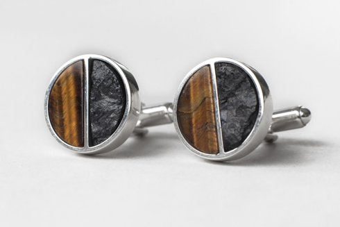 silver cufflinks with coal chunks and tiger eye