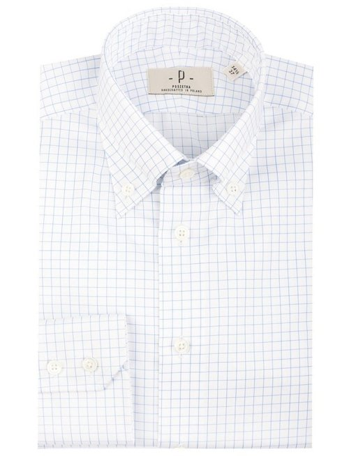 white button-down shirt with blue check