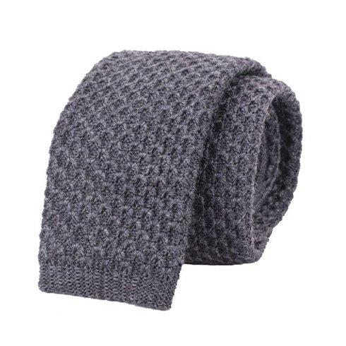 woolen grey knit tie