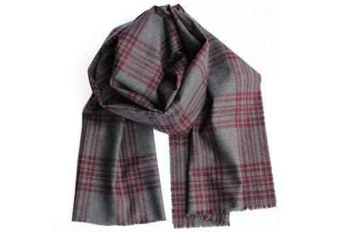 woolen grey scarf with burgundy check