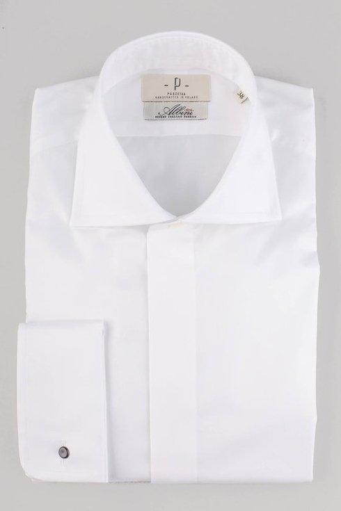 Klasyczna koszula z plisą krytą i mankietem na spinki