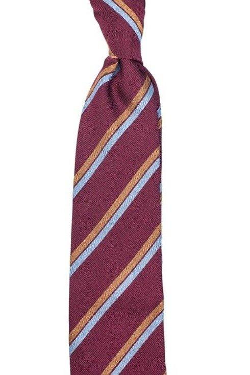 malinowy jedwabny krawat regimental