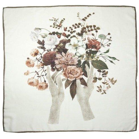 """Apaszka """"kwiaty"""" z wełny z jedwabiem 100 cm"""