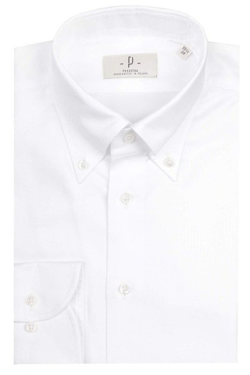 Biała koszula o splocie oxford OCBD