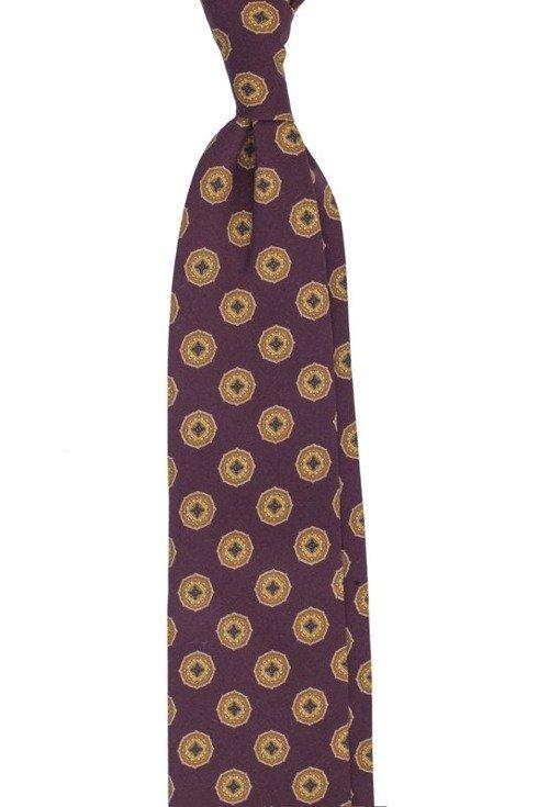 Bordowy krawat w medaliony bez podszewki z wełny drukowanej