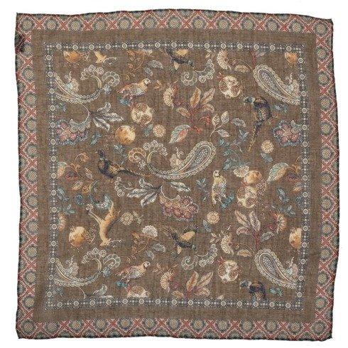 Brązowa poszetka z motywem zwierzęcym bawełna z kaszmirem 40 cm