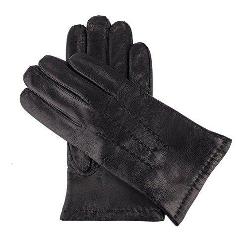 Czarne rękawiczki z owczej skóry jagnięcej