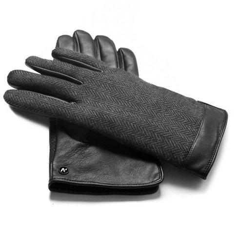 Czarno-szare ocieplane rękawiczki z technologią touchscreen