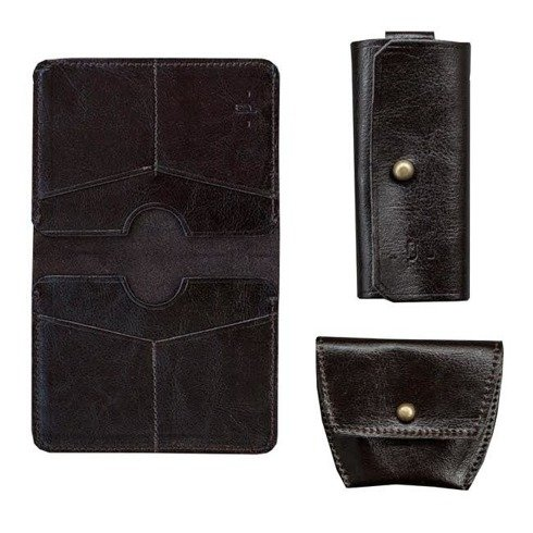 Czekoladowy Zestaw Pocket Wallet + bilonówka + etui na klucze