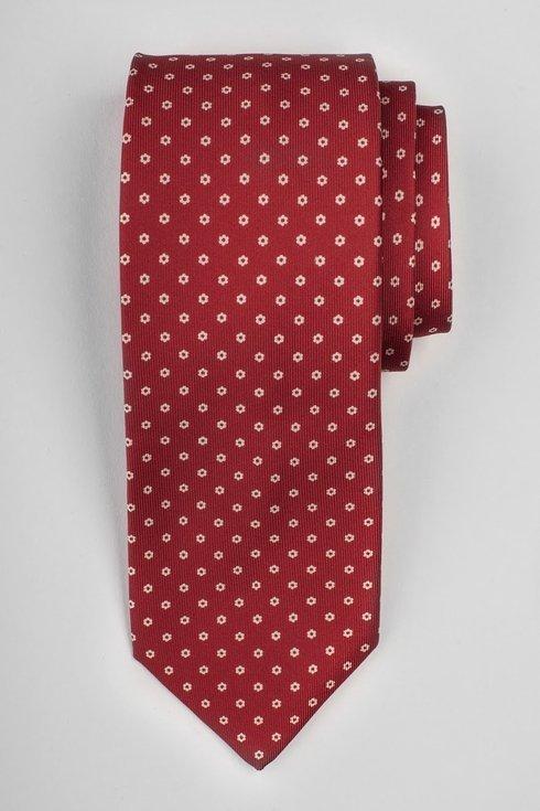 Czerwony krawat six fold z jedwabiu drukowanego Macclesfield