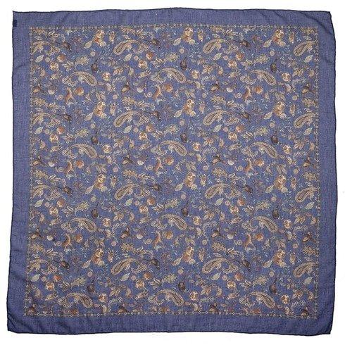 Granatowa apaszka bawełniano- kaszmirowa 100 cm