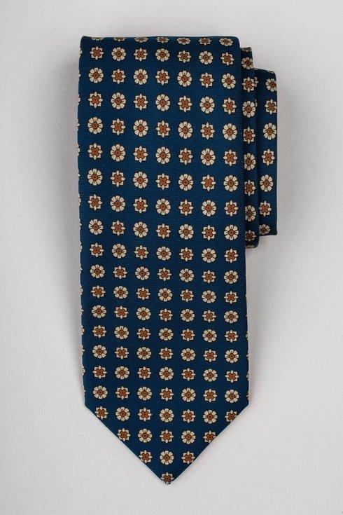Granatowy krawat six fold z jedwabiu drukowanego Macclesfield