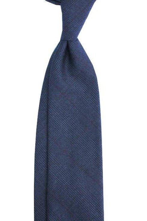 Krawat wełniany w delikatną kratę