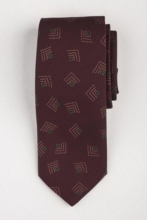 Krawat z jedwabiu Macclesfield burgundowy
