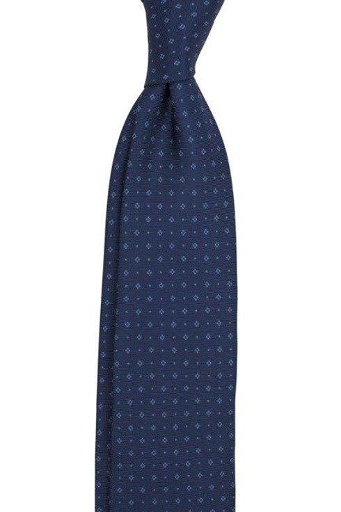 Krawat z jedwabiu Macclesfield granatowy