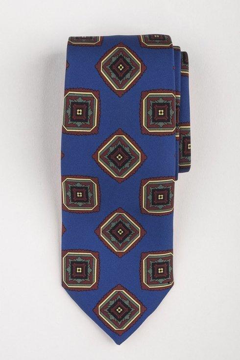 Krawat z jedwabiu Macclesfield niebieski w medaliony