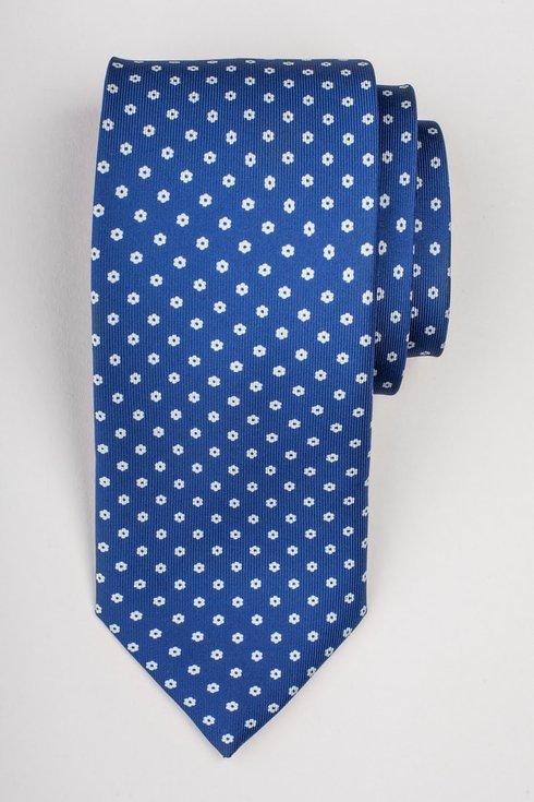 Niebieski krawat z jedwabiu drukowanego Macclesfield