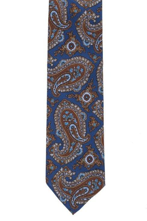 Niebieski paisley krawat bez podszewki z wełny drukowanej