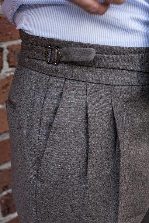 """Preorder: Spodnie gurkha z beżowej flaneli """"Alfred III"""""""