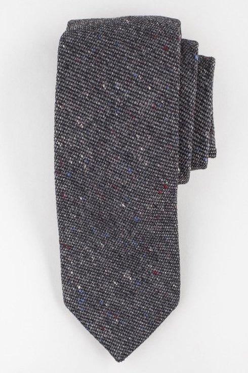 Szary Nakrapiany wełniany krawat