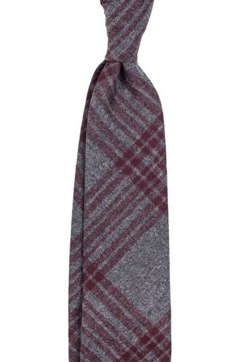 Wełniany krawat w kratę bez podszewki