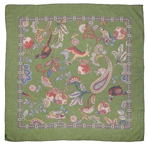 Zielona apaszka bawełniano- kaszmirowa 100 cm