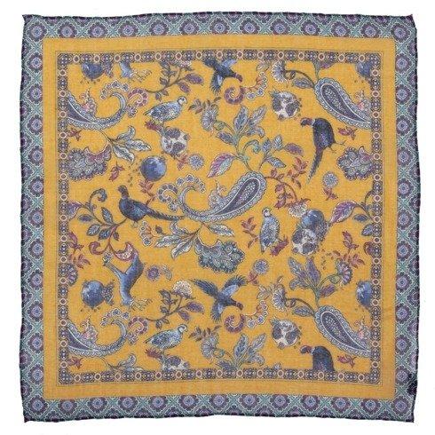 Żółta poszetka z motywem zwierzęcym bawełna z kaszmirem 40 cm