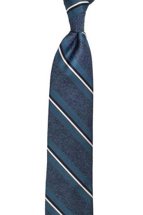 morski w melanżu krawat z grenadyny w pasy