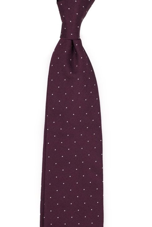Bordowy krawat z jedwabiu żakardowego polka dots