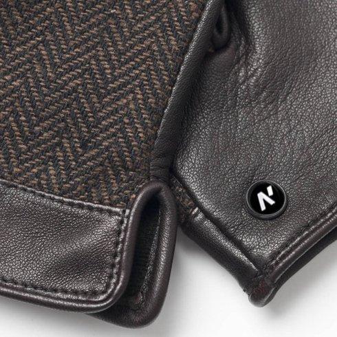 Brązowe ocieplane rękawiczki z technologią touchscreen