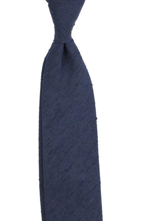 Granatowy krawat z szantungu bez podszewki