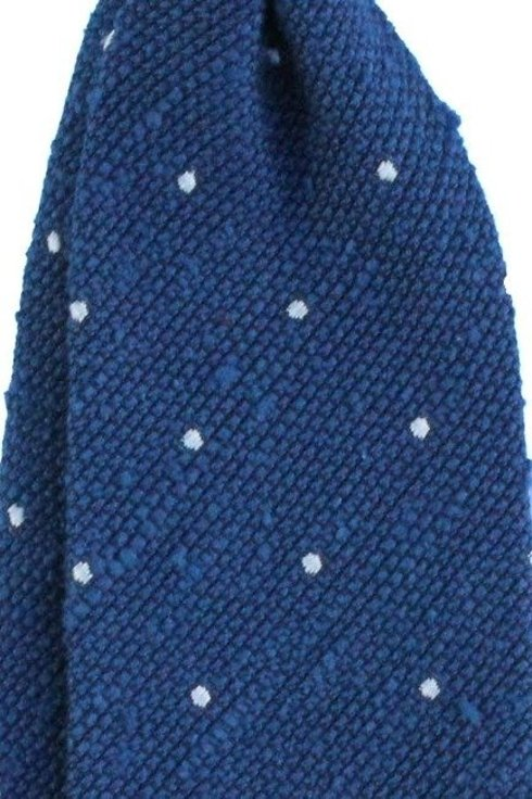 KRAWAT w kropki szantung / grenadyna niebieski