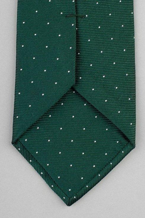 Zielony krawat z jedwabiu żakardowego polka dots