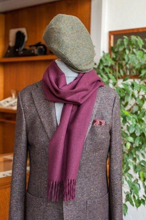 burgundowy wełniany szal