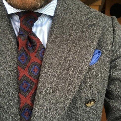 krawat bez podszewki wool challis