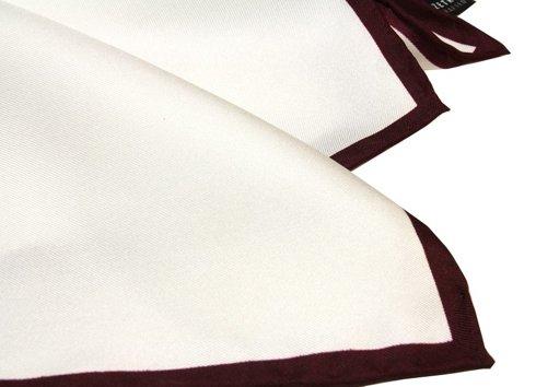 poszetka jedwabna z burgundową ramką